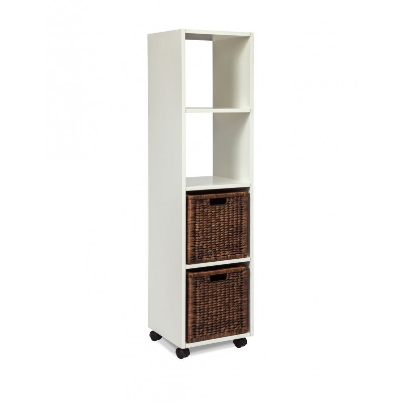 Arason White Rolling Bookcase Tower With Baskets