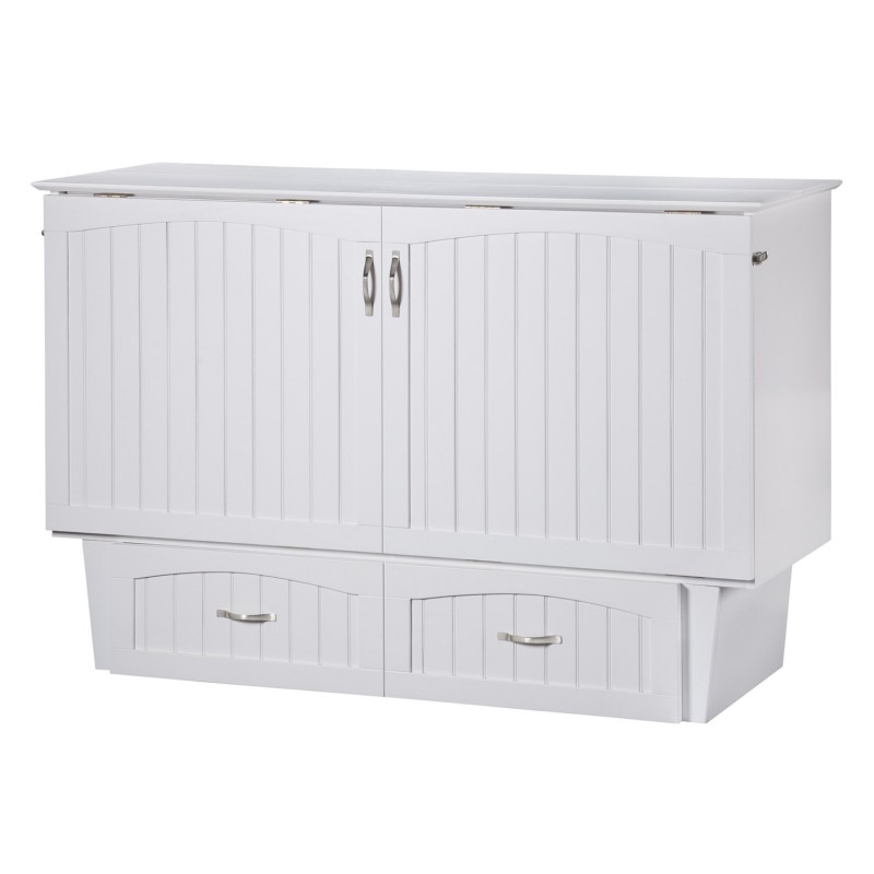 Folded Up Atlantic Nantucket Murphy Queen White Cabinet Bed