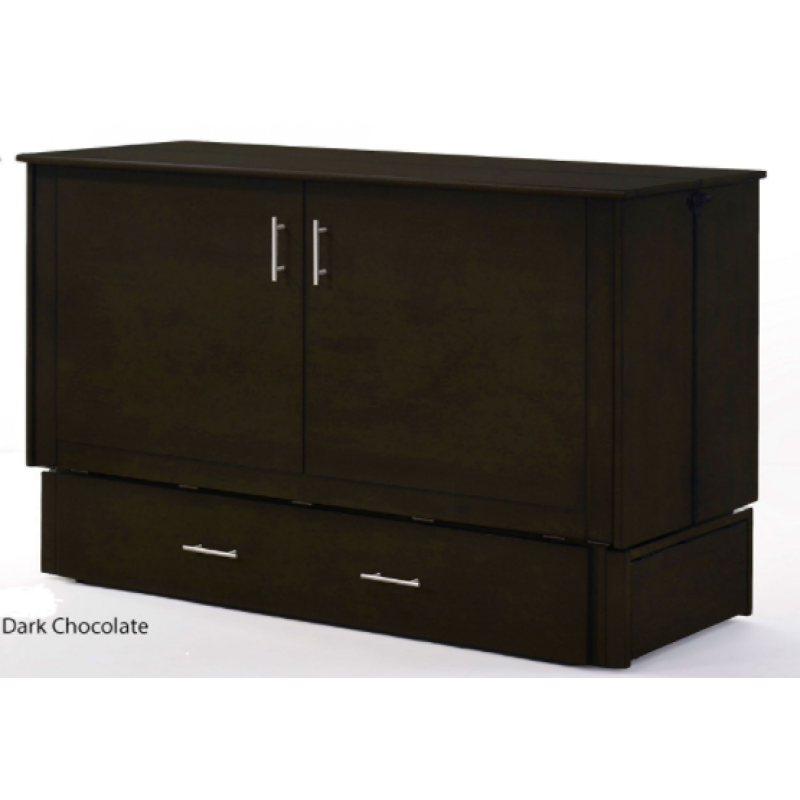 Folded Up Night and Day Sagebrush Murphy Queen Dark Chocolate Cabinet Bed