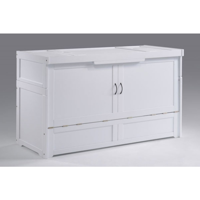 Night and Day Murphy Cube Queen White Cabinet Bed