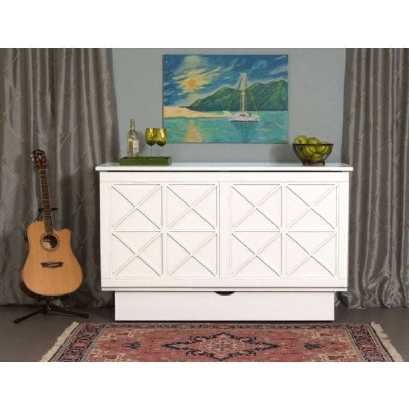 Folded up Arason Brussels Queen White Murphy Cabinet Bed